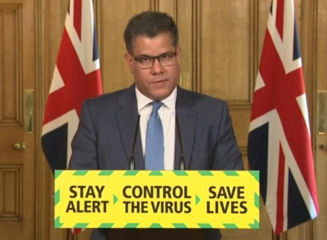 Screen grab of Business, Energy and Industrial Strategy Secretary Alok Sharma during a media briefing in Downing Street, London, on coronavirus (COVID-19)..