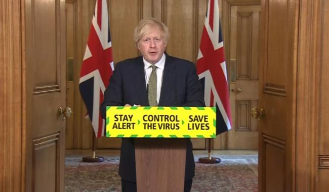 Screen grab of Prime Minister Boris Johnson during a media briefing in Downing Street, London, on coronavirus (COVID-19). PA Photo. Picture date: Sunday May 24, 2020. See PA story HEALTH Coronavirus. Photo credit should read: PA Video/PA Wire