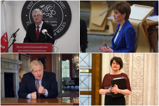 Clockwise from top left, the heads of government in Wales (Mark Drakeford), Scotland (Nicola Sturgeon), Northern Ireland (Arlene Foster), and England (UK prime minister Boris Johnson). Pictures: PA