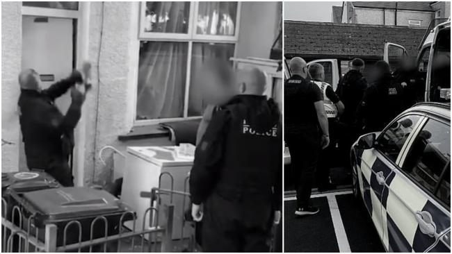 Specialist police officers smashing down a door in Newport this morning during a series of raids in an operation targeting serious organised crime. Pictures: Gwent Police