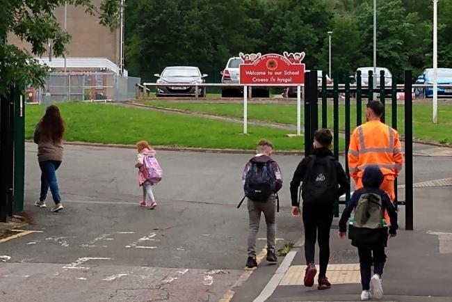 Coed Eva Primary pupils in Cwmbran return to school, June 29 2020.