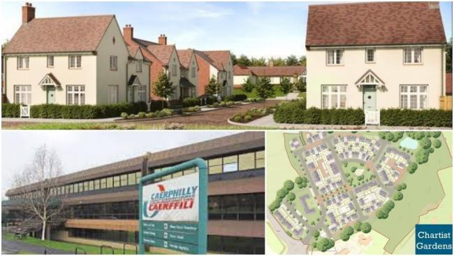 Top, bottom right - the proposed Chartist Gardens development at Pontllanfraith; bottom left - the former, now demolished, council offices on the site