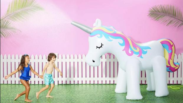 South Wales Argus: This unicorn sprinkler looms above kids, but it's a good size for adults, too. Credit: Sun Squad