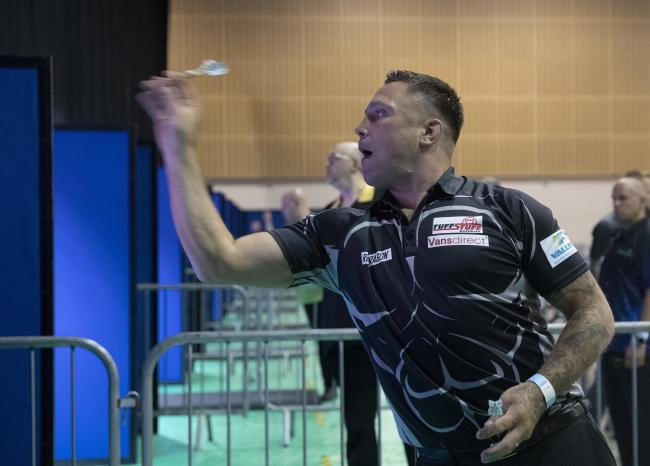 FINALIST: Gerwyn Price practices at the Summer Series (Picture Lawrence Lustig)