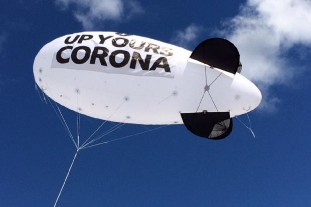 South Wales Argus: The Radio 1 'up yours corona' blimp is in flight above Newport's Kingsway Centre car park. Picture: Icon Creative Design