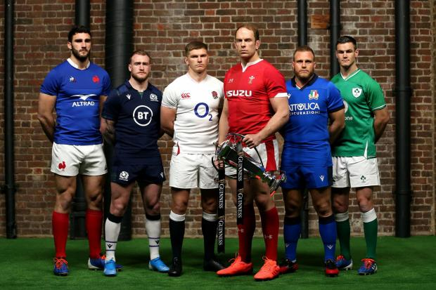 File photo dated 22-01-2020 of Team captains pose for a photo with the Six Nations Trophy (left to right) France's Charles Ollivon, Scotland's Stuart Hogg, England's Owen Farrell, Wales' Alun Wyn Jones, Italy's Luca Bigi and Ireland