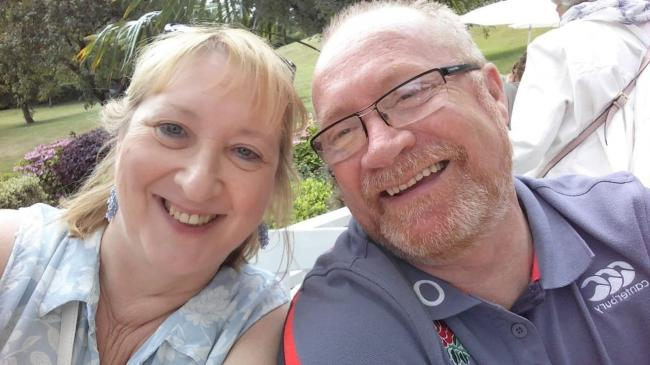 Welsh Ambulance Service worker Steve Bell, from Ebbw Vale, pictured with his wife, Ann.