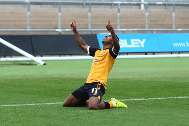 DOUBLE: Newport County AFC forward Tristan Abrahams celebrates the second of his goals against Swansea City