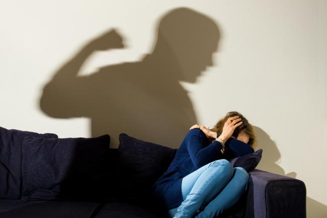 Depression, alcohol and domestic violence abuse stock