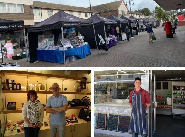 Top: Caldicot Market last month. Bottom left: Nick House and Tracey Clements at Wye Valley Studios. Bottom right: Alex Feetham at Clarke's Butchers