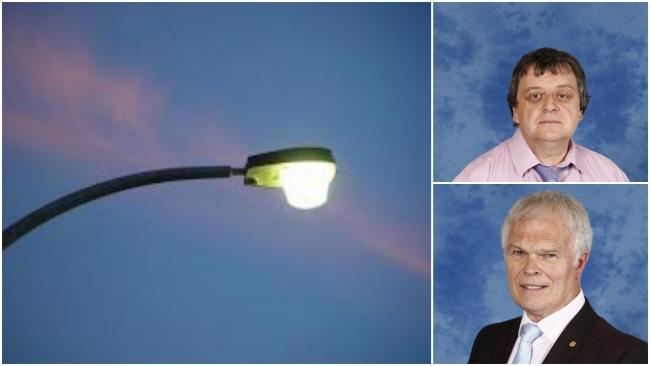 Cllrs Kevin Etheridge (top) and Colin Mann (bottom) are leading calls for a review of plans to switch off thousands more street lights across Caerphilly in the early morning hours