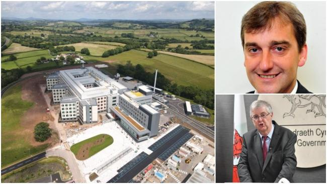 The Grange University Hospital near Cwmbran and top, Nick Ramsay MS, bottom, First Minister Mark Drakeford