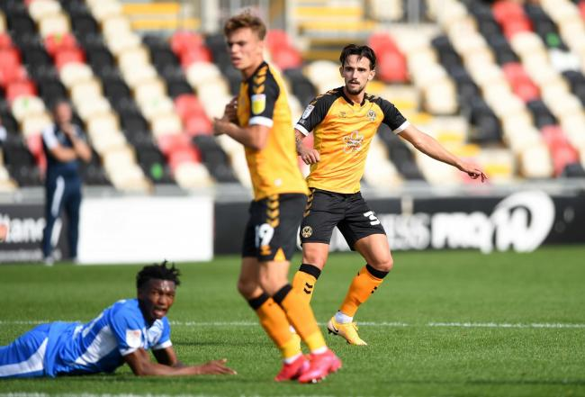 ENERGETIC: Liam Shephard, pictured scoring against Barrow, has started superbly since signing for Newport County