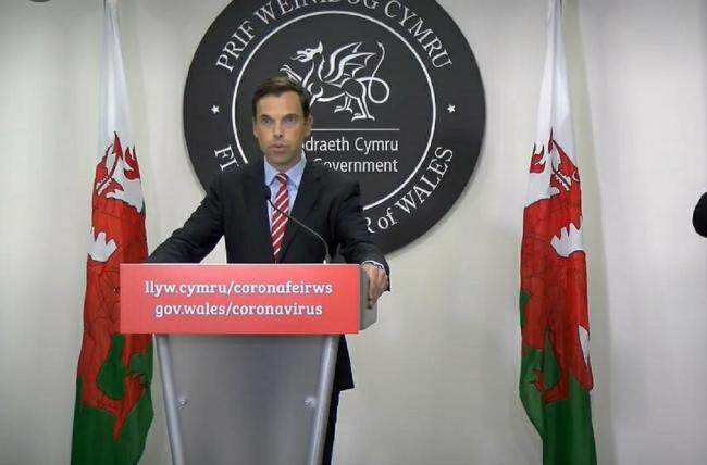 Wales' economy minister Ken Skates at the Welsh Government coronavirus press conference. Picture: Welsh Government