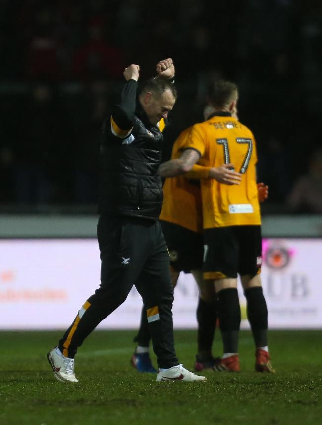 05.02.19 - Newport County v Middlesbrough, FA Cup Round 4 Replay - Newport County manager Michael Flynn celebrates with his players at the end of the match.