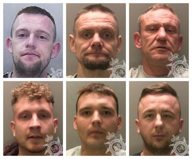 Top row, from left to right, Martin Harris, Richard Williams and Thomas Davies. Bottom row, from left to right, Stefan Ramsden, Bradley Joseph Bullock and Gareth Marshall.