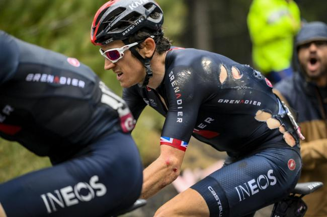 Britain's Geraint Thomas competes during third stage of the Giro d'Italia, tour of Italy cycling race from Enna to Etna, Sicily, Monday, Oct. 5, 2020. Picture: Marco Alpozzi/LaPresse via AP