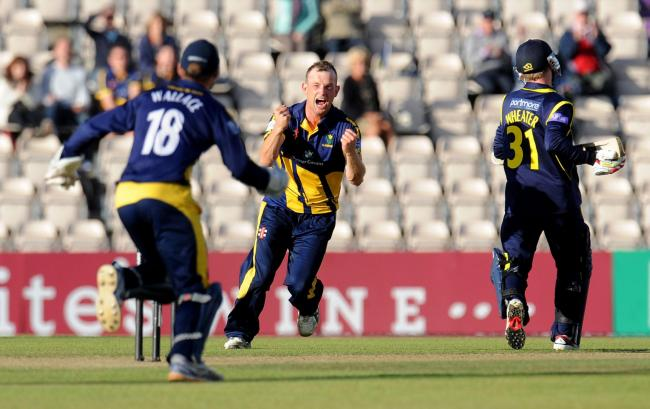 Glamorgan's Graham Wagg (centre) celebrates taking the wicket of Hampshire's Adam Wheater (right) during the Clydesdale Bank Pro40 Semi Final match at the Ageas Bowl, Southampton. PRESS ASSOCIATION Photo. Picture date: Saturday September 7, 2013.