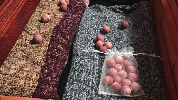 South Wales Argus: Cedar balls will keep pests away from your clothing. Credit: Cedar Space