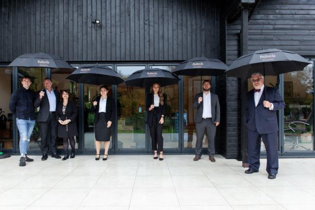 The team at Bellavia & Associates outside the firm's offices. From left; Max Bellavia, Zep Bellavia, Caroline Walker, Lydia Clements, Keira Mruk, Craig Shipp and Iain Cameron (associate)