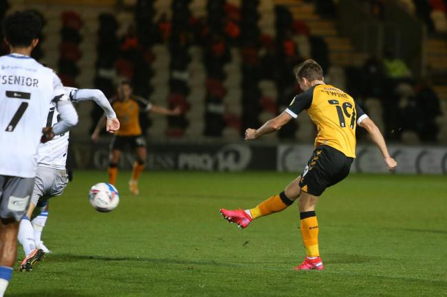 CLASS ACT: Scott Twine thumps in the opener after another impressive display for Newport