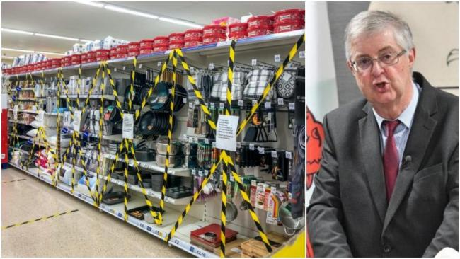 The list of what you can buy in supermarkets in Wales during the firebreak lockdown has been updated by the Welsh Government. Right - First Minister Mark Drakeford