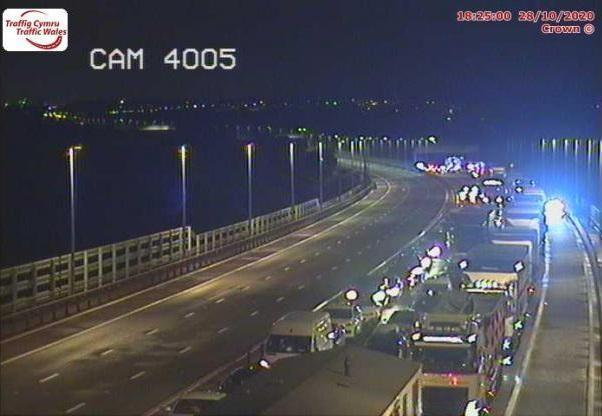 Both lanes of the M4 on the Prince of Wales Bridge were closed for several hours after the crashes. Picture: Traffic Wales