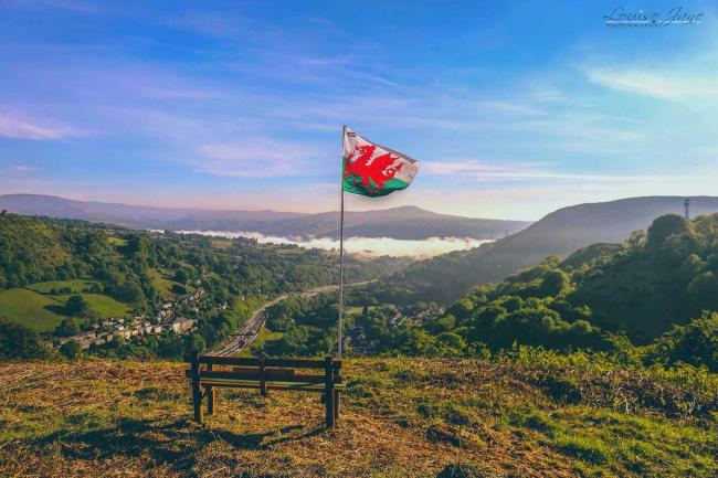 A Welsh flag flies on a hilltop overlooking Clydach Gorge. Picture: South Wales Argus Camera Club member Louise Jane