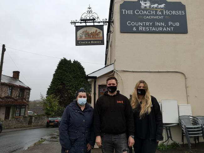 Left to right: Kate Isaac, Ellis Lee and Kennedy Hallett outside the Coach and Horses in Caerwent