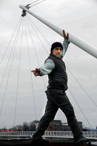 French high-rope walker Olivier Roustan checks out the Newport footbridge