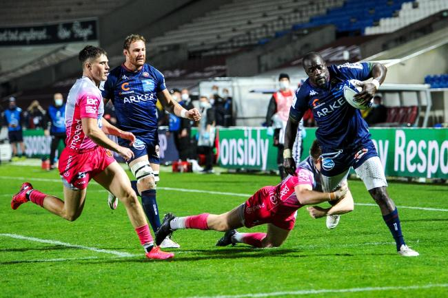 TRY: Bordeaux captain Mahamadou Diaby scores the opener