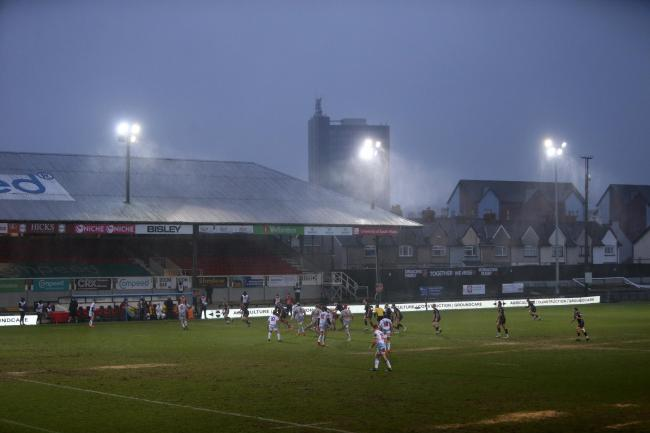 26.12.20 - Dragons v Cardiff Blues - Guinness PRO14 - General View of Rodney Parade as the rain comes down..
