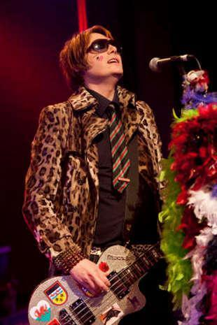 South Wales Argus: Nicky Wire, of the Manic Street Preachers, wearing his old school tie at the homecoming gig in Blackwood in January 2011