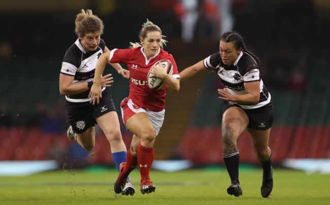 Wales' Elinor Snowsill in action with Barbarians Ariana Hira-Herangi during the International match at the Principality Stadium, Cardiff. Picture: Bradley Collyer/PA Wire.