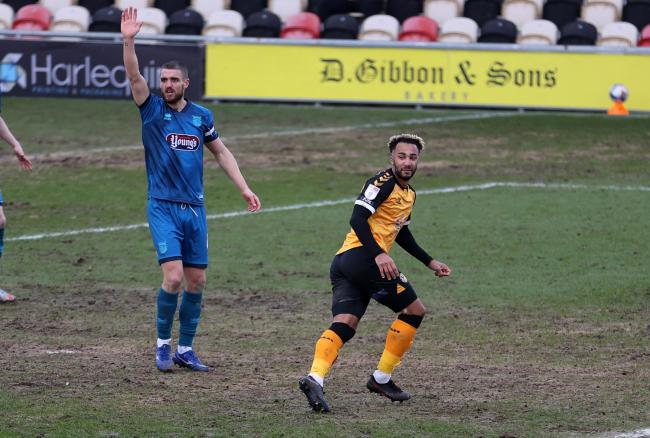 WINNER: Newport County AFC striker Nicky Maynard checks that there is no flag for offside