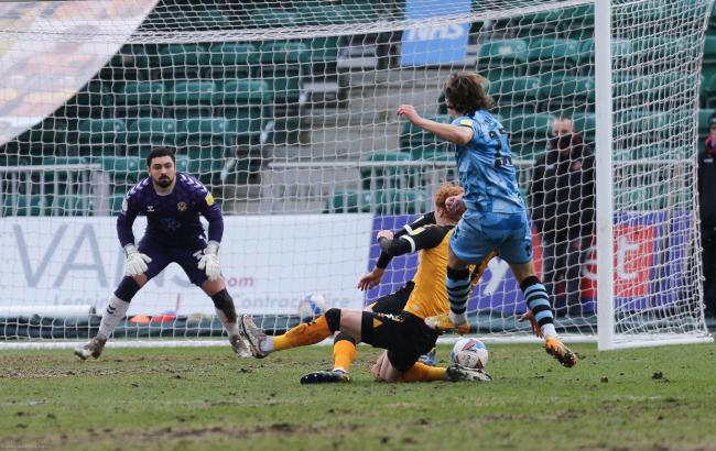 OPENER: Josh Davison fires Forest Green into the lead at Newport