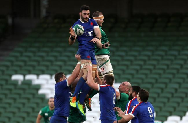 File photo dated 14-02-2021 of France's Charles Ollivon (left) contesting the line-out. Issue date: Monday February 22, 2021. PA Photo. France skipper Charles Ollivon is among five new players who have tested positive for Covid-19, the French Rugby Fe
