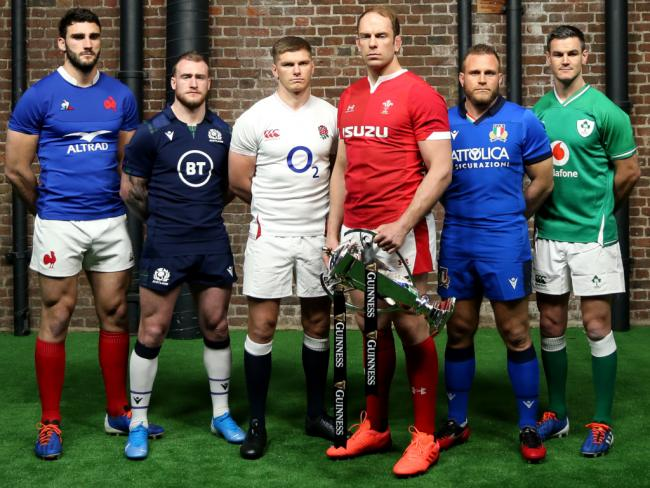 Team captains pose for a photo with the Six Nations Trophy (left to right) France's Charles Ollivon, Scotland's Stuart Hogg, England's Owen Farrell, Wales' Alun Wyn Jones, Italy's Luca Bigi and Ireland's Jonathan Sexton during the