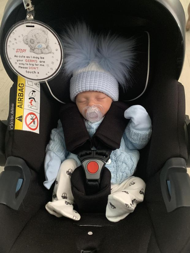 South Wales Argus: Arlo Gray Rowlands arrived three weeks early on January 26, 2021, at the Grange University Hospital, near Cwmbran, weighing 4lb 8oz. He spent five days in NICU before being allowed home. His parents are Hayley Morris and Jordan Rowlands, of Bargoed. His b