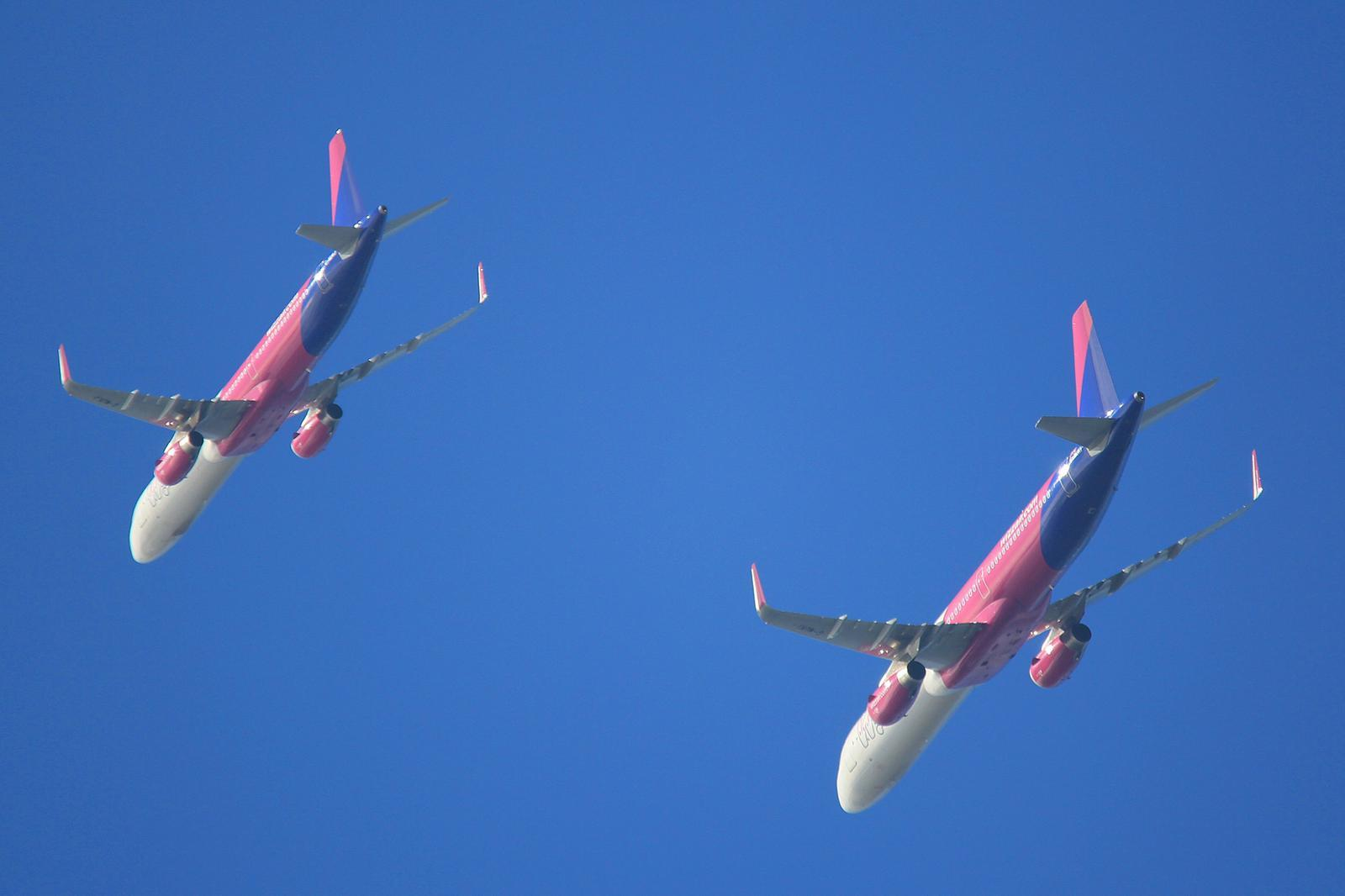 Wizz Air's four-plane flyover at Newport, Cardiff and Swansea