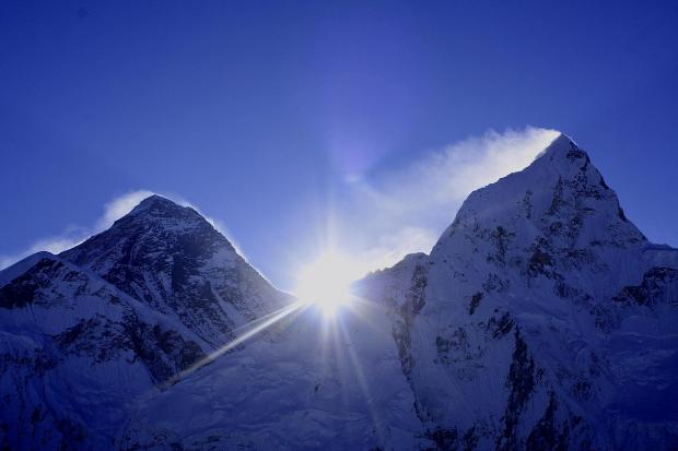 South Wales Argus: Sunrise coming up between Mount Everest and lhotse, taken at Kala patthar Nepal.