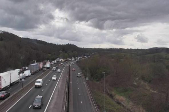 Picture: Traffic Wales. Traffic is slow on the M4 travelling westbound between J26 Malpas and J27 High Cross