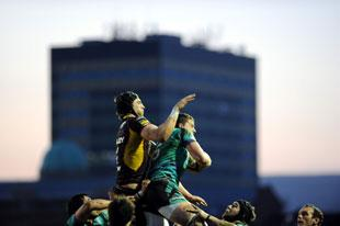 The Dragons' Luke Charteris and the Ospreys' Ian Evans in the air