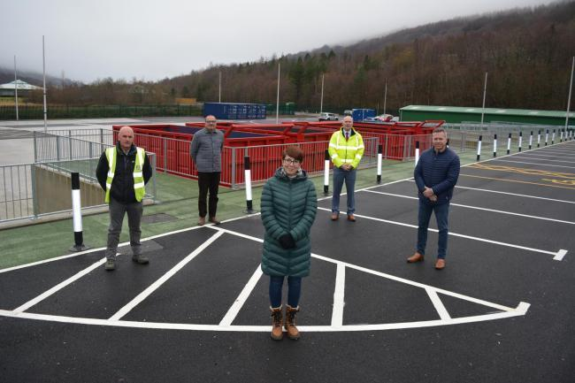 Pictured left to right on a site visit to the new recycling centre last year. • Andrew Miles - Jim Davies Civil Engineering • Phil Hurst - Waste Savers Cllr Jo Wilkins – BGCBC • Matthew Stent – BGCBC • Alun Harries