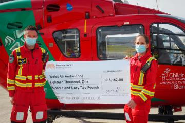 Monmouthshire Building Society donates £18,000 to Air Ambulance