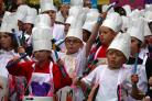 PUPILS: All lined up to enjoy the chef's parade