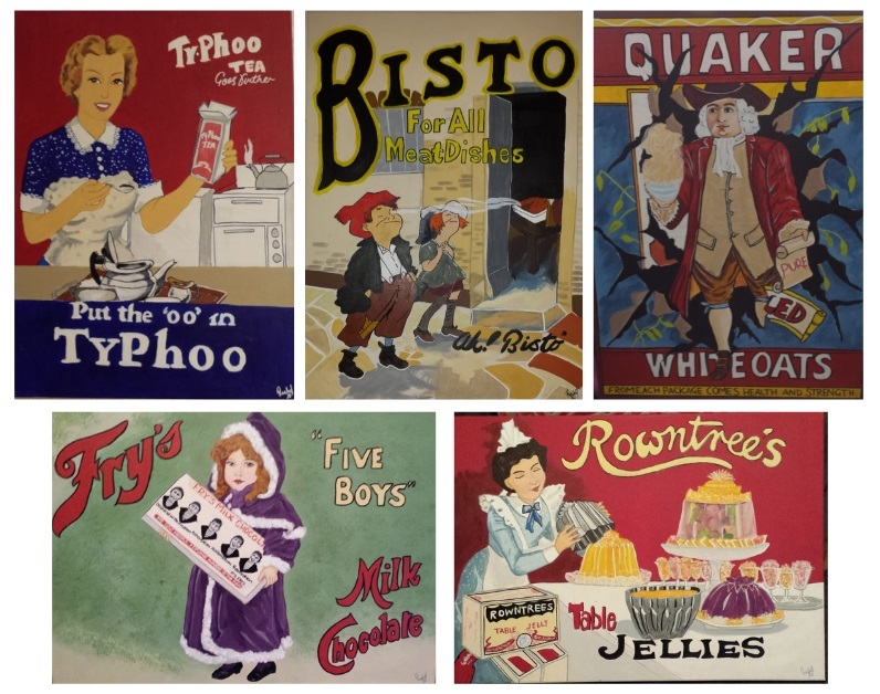 Rachel Davies artwork of retro adverts at Thistle Court care home in Cwmbran. Picture: Thistle Court Care Home