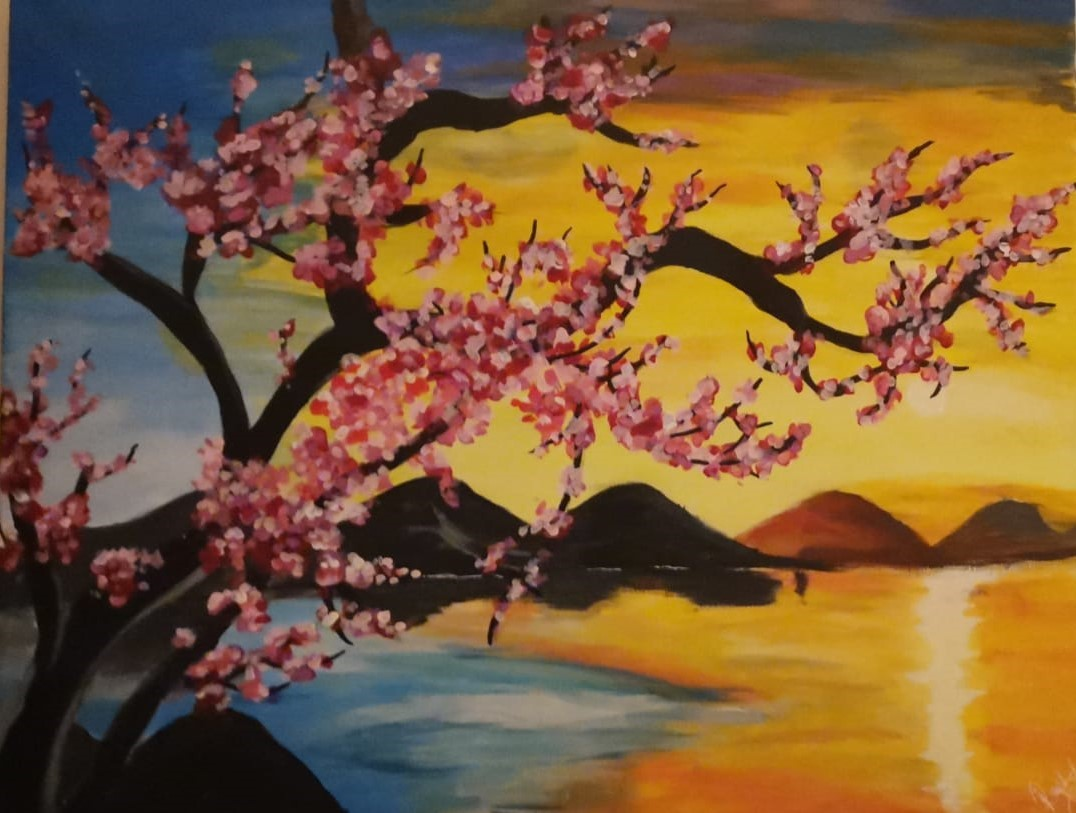 A landscape painted by Rachel Davies at Thistle Court care home in Cwmbran. Picture: Thistle Court Care Home