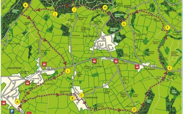 South Wales Argus: Langstone and Penhow circular walk map