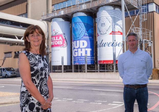 South Wales Argus: Lesley Griffiths AM and Lloyd Manship, brewing manager at Magor Brewery